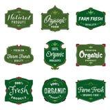 Etiquetas del alimento biológico Imágenes de archivo libres de regalías