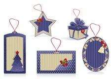 etiquetas del azul de la Navidad Foto de archivo