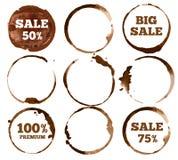 Etiquetas del café Logotipo sucio de la mancha del anillo de la acuarela Conjunto de la ilustración del vector stock de ilustración