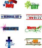 Etiquetas del calendario del día de fiesta ilustración del vector