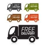 Etiquetas del camión de reparto Imagen de archivo libre de regalías