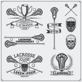 Etiquetas del club de LaCrosse, emblemas y elementos del diseño Foto de archivo