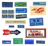 Etiquetas del correo aéreo del vintage Foto de archivo libre de regalías