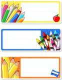 Etiquetas del cuaderno de la escuela Imagenes de archivo