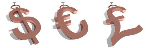 Etiquetas del dólar, del euro y de la libra Foto de archivo libre de regalías