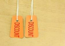 Etiquetas del descuento Imagen de archivo libre de regalías