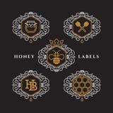 Etiquetas del esquema de la miel Imagenes de archivo
