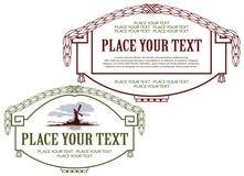 Etiquetas del estilo de la frontera en diversos temas Imagen de archivo