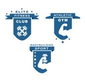 Etiquetas del gimnasio, de la aptitud, atléticas y del deporte ilustración del vector