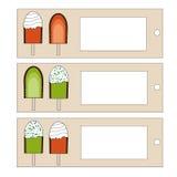 Etiquetas del helado Fotografía de archivo libre de regalías