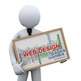 etiquetas del hombre de negocios 3d y del diseño web ilustración del vector