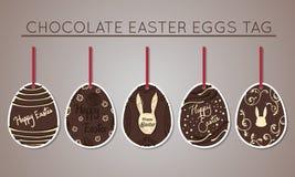 Etiquetas del huevo de Pascua del chocolate Imagenes de archivo