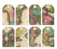 Etiquetas del mapa del vintage con la ayuda de los agujeros Libre Illustration