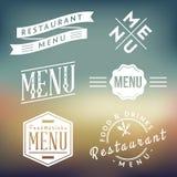 Etiquetas del menú del restaurante Ilustración del Vector
