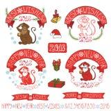 Etiquetas del mono del Año Nuevo 2016, decoración ilustración del vector
