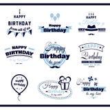 Etiquetas del monocromo del feliz cumpleaños Fotos de archivo libres de regalías