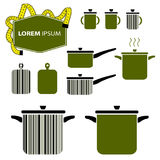 Etiquetas del negocio Formas de la cacerola y del pote Ilustración del Vector