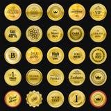 Etiquetas del oro de la colección para los sellos del promo Puede ser el uso para el sitio web, Imagen de archivo libre de regalías