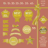 Etiquetas del oro del elemento del diseño en concepto determinado del superventas Imagen de archivo libre de regalías