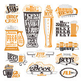 Etiquetas del pub y del festival de la cerveza, insignias y colección de los iconos Foto de archivo libre de regalías