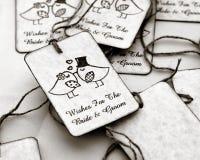 Etiquetas del regalo de boda fotografía de archivo