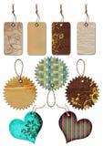 Etiquetas del regalo de diversas formas. Imagen de archivo libre de regalías