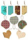 Etiquetas del regalo de diversas formas. Fotografía de archivo