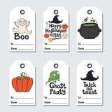 Etiquetas del regalo de Halloween Colección imprimible de las etiquetas Frase Handdrawn de las letras label Elemento del diseño p stock de ilustración