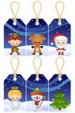 Etiquetas del regalo de la Navidad Fotografía de archivo libre de regalías