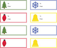 Etiquetas del regalo de la Navidad Imagen de archivo libre de regalías
