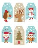 Etiquetas del regalo de la Navidad Imágenes de archivo libres de regalías