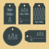 Etiquetas del regalo de la Navidad de la textura cretácea listo para utilizar Saludo de la Navidad Fondo de Kraft Vector Foto de archivo libre de regalías