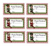 Etiquetas del regalo de la Navidad del duende Fotos de archivo libres de regalías