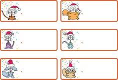 Etiquetas del regalo de la Navidad del gato del cascabeleo Fotos de archivo libres de regalías
