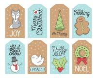 Etiquetas del regalo de vacaciones de la Navidad Fotos de archivo libres de regalías