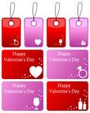 Etiquetas del regalo del día de tarjetas del día de San Valentín fijadas Foto de archivo