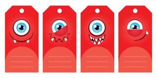 Etiquetas del regalo del monstruo Foto de archivo libre de regalías