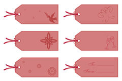 Etiquetas del regalo en color de rosa Fotos de archivo libres de regalías