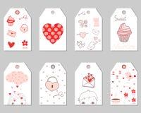Etiquetas del regalo para el día del ` s de la tarjeta del día de San Valentín Fotografía de archivo libre de regalías