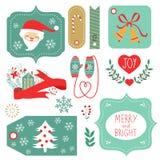 Etiquetas del regalo y elementos del gráfico de la Navidad Foto de archivo
