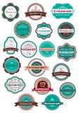 Etiquetas del restaurante y de la panadería en estilo del vintage Fotos de archivo