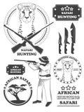 Etiquetas del safari del cazador, emblemas del leopardo y elementos africanos del diseño Imagen de archivo libre de regalías