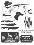 Etiquetas del safari del cazador, emblemas y elementos africanos del diseño Vector Fotografía de archivo libre de regalías