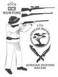 Etiquetas del safari del cazador, emblemas y elementos africanos del diseño Vector Imagenes de archivo