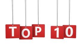 Etiquetas del Top Ten Imagen de archivo