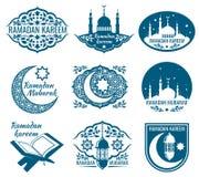 Etiquetas del vector del kareem del Ramadán Insignias del vintage con caligrafía islámica árabe stock de ilustración