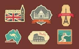 Etiquetas del viaje stock de ilustración