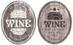 Etiquetas del vino con el barril ilustración del vector