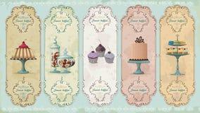 Etiquetas del vintage con los dulces Imagen de archivo libre de regalías