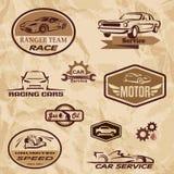 Etiquetas del vintage de los coches de competición Fotografía de archivo libre de regalías